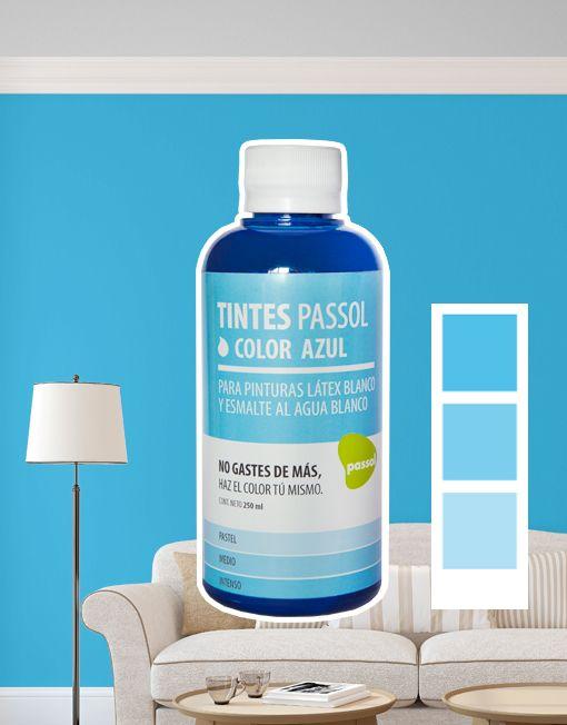 Tinte Passol Azul para mezclar con pinturas LÁTEX y ESMALTE al agua de Passol.