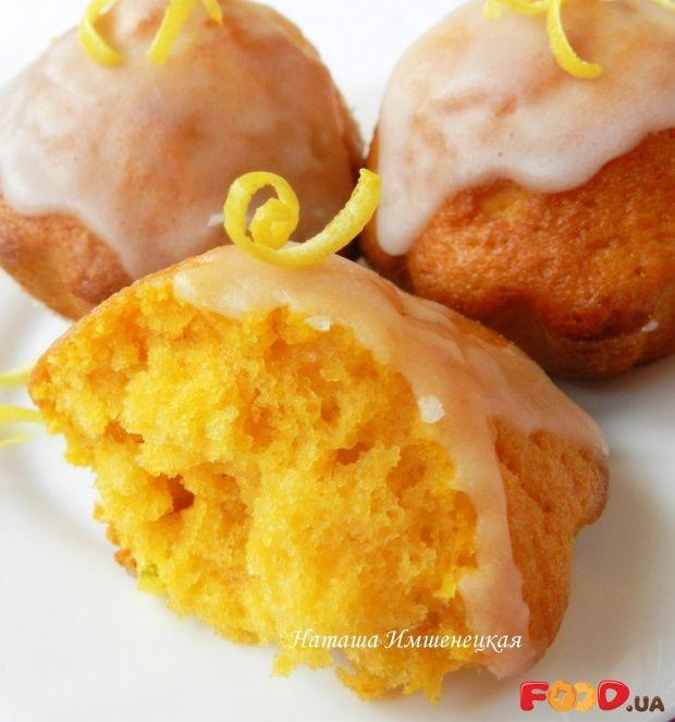 Тыквенные кексы с лимонной глазурью