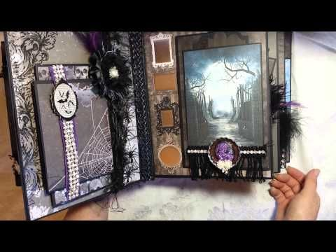Scrapbook Fashionista Designs by Rina - Spooky Haunted Romantic Gothic Halloween Mini Album 8x10; you tube 21:02; Sept 20, 2015   NTS:  look at some of the pockets