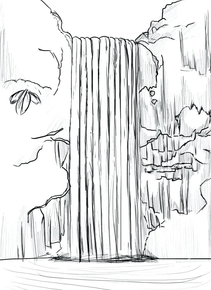 Waterfall Coloring Pages Waterfall Drawing Waterfall Sketch