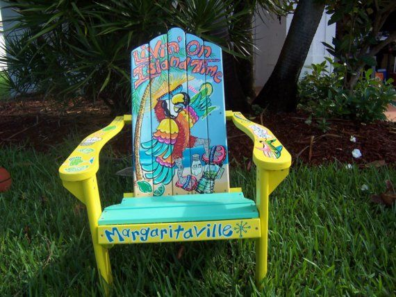 Tropical Adirondack Chair Handcrafted Hand Painted Livin' On Island Time Parrot Margarita