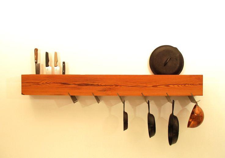 9 best pot pan lid rack ideas images on pinterest for Reclaimed wood pot rack