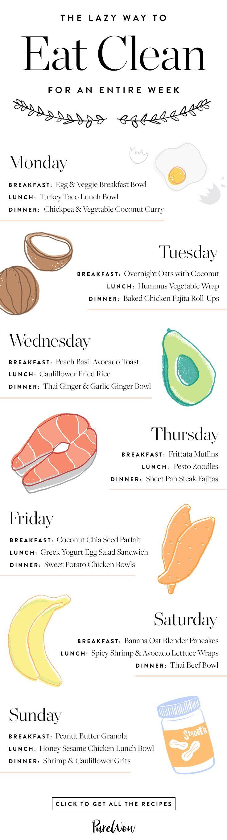 Looking for a lazy way to eat clean? Save this easy, clean eating meal plan that will help you stay healthy all week long, and click to get each recipe. #mealplan #healthyrecipes #recipes #cleaneating #eatclean #healthy #infographic #mealprep #cleaneatingrecipes #guide