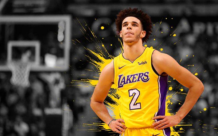 Download wallpapers Lonzo Ball, 4k, basketball players, NBA, Los Angeles Lakers, grunge, basketball, art, LA Lakers