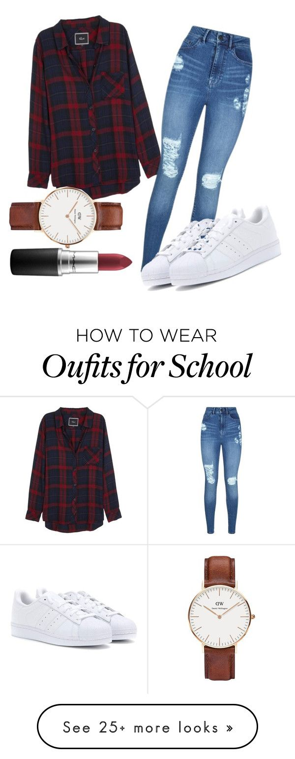 """Basic school look"" by ilsecamps on Polyvore featuring Rails, Lipsy, adidas, Daniel Wellington and MAC Cosmetics"