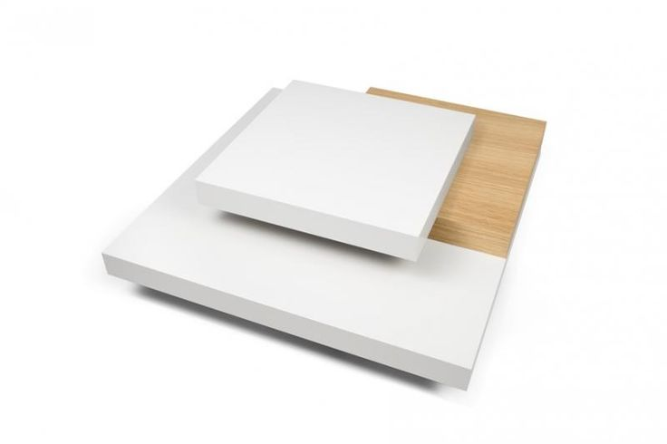 Slate, modern square coffee table in white and oak finish-top detail