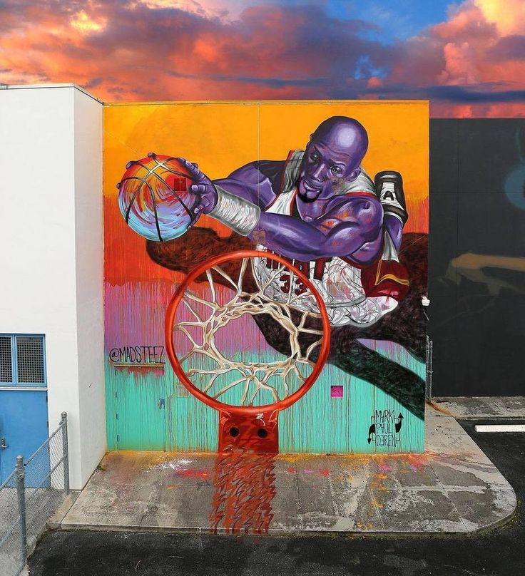 Mural feat. Alonzo Mourning for wynwoodmiami at Jose de Diego by Madsteez #streetart