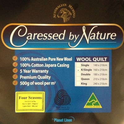All Season 100% Wool Quilt 200/300gsm by Caressed by Nature