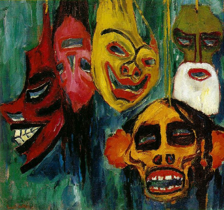 Masks Still Life III, by Emil Nolde, German painter -- -- Quite timely, coinciding with Mardi Gras along the northern Gulf Coast of the U.S. Description from pinterest.com. I searched for this on bing.com/images