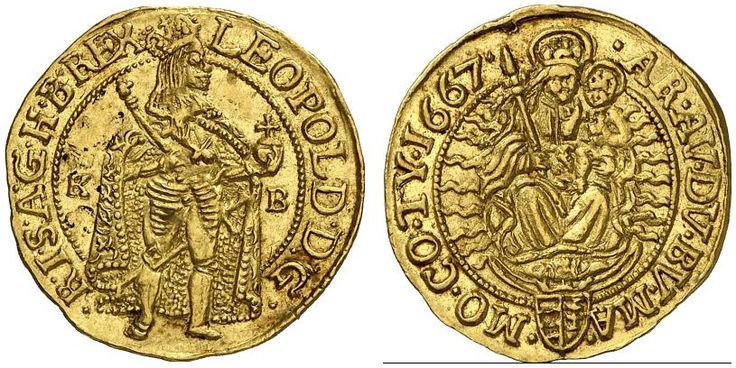AV Goldgulden. Hungary Coins, Habsburg Rulers, Leopold I. 1657-1705. Kremnitz mint, 1667 KB. 3,47g. F 128. EF. Price realized 2011: 1.300 USD.