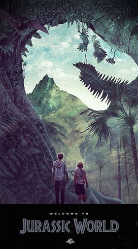 """We have learned more in the past year from genetics, than a century of digging up bones! A whole new frontier has opened up! We have our first genetically modified hybrid!"" Epic Jurassic World ‪#‎poster‬ by Janee Meadows."