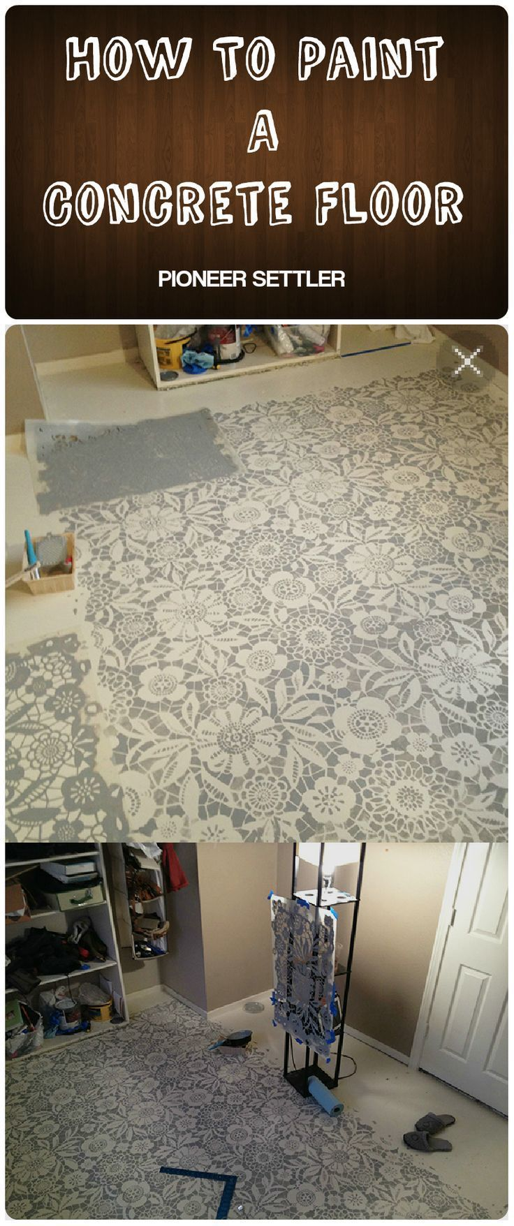 How To Paint A Concrete Floor   Seal and improve the look and performance of the floor by this step-by-step tutorial + video tutorial.   Best Homesteading Tips, DIY Projects and Homemade Recipes #pioneersettler   pioneersettler.com