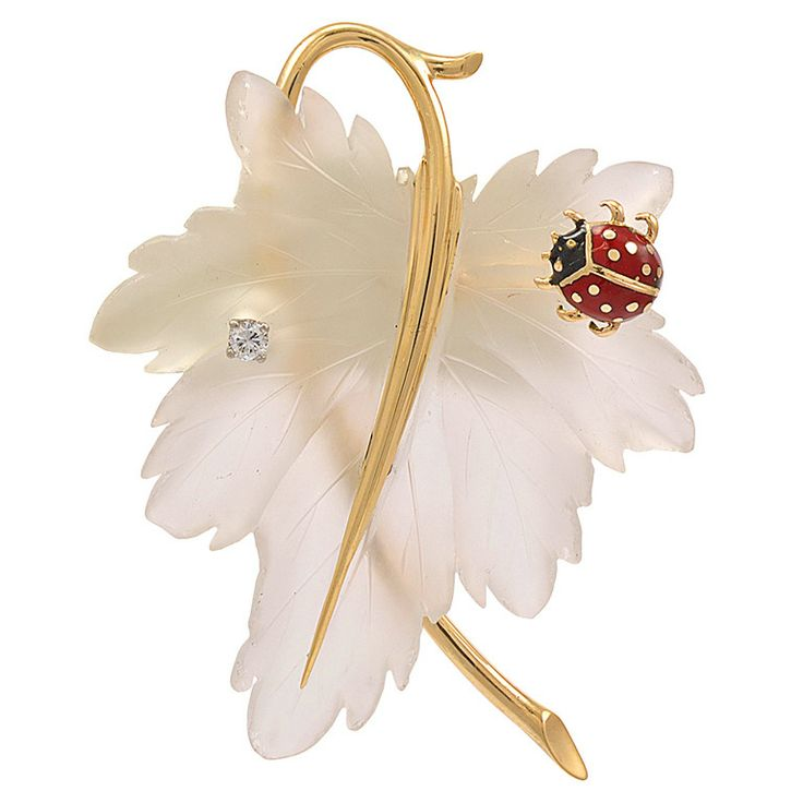 TIFFANY Crystal Leaf Pin with Ladybug | From a unique collection of vintage brooches at http://www.1stdibs.com/jewelry/brooches/brooches/