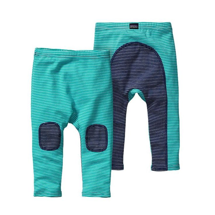 Patagonia Baby Cozy Cotton Pants - Itsy Bitsy Stripe: Howling Turquoise ISHT