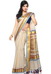 Off white cotton Kerala kasavu traditional south Indian saree designed with tassels, zari and resham woven. As shown in the below thumbnail ...