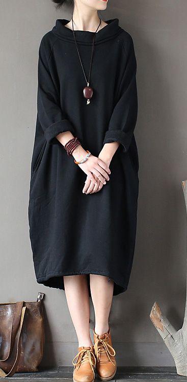Kaufen Sie Baumwollkleidung für Frauen Omychic Patchwork Ausschnitt schwarz Stehkragen Baumwollkleider