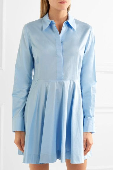 Sky-blue cotton-twill Partially concealed button fastenings along front 100% cotton Dry clean