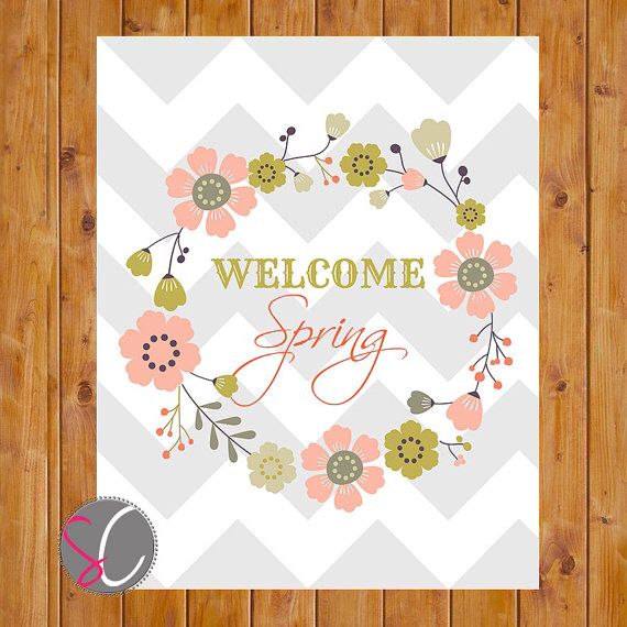 Instant Download Welcome Spring Floral Wreath Grey Chevron Office Hallway Kitchen Classroom Wall Art Decor Printable 8x10 digital  JPG File on Etsy, $5.00