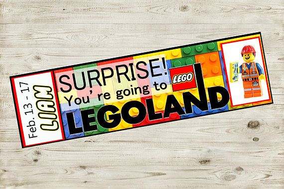 "Printable Ticket to LEGOLAND with Custom Name Dates Personalize Surprise Legos DIY Digital File Kids Child jpg pdf vacation pass coupon gift  Surprise!! You're going to LEGOLAND®!   Make someone's day extra magical when you surprise them with a trip to LEGOLAND® with these awesome tickets! They'll feel ""special""!"