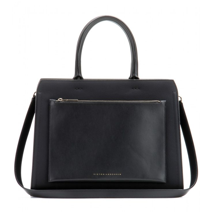 Victoria Beckham - City Victoria leather tote - Elegant and sophisticated, Victoria Beckham's accessory designs are true investment pieces that will stand the test of time. The structured 'City Victoria' tote is crafted in Italy from supple leather with a handy external zipped pocket adorning the front. Subtle gold-tone branding completes the immaculate design. seen @ www.mytheresa.com
