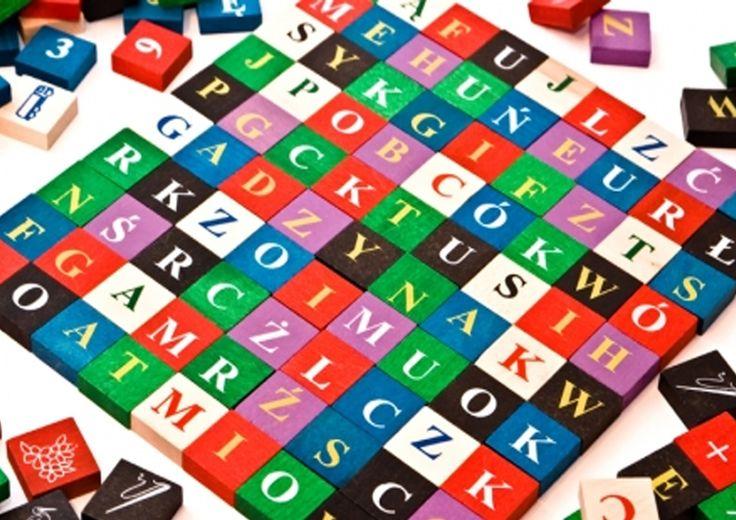 KLOCKI DREWNIANE alfabet 100 SZT KOLOROWE POLSKIE