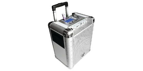 Portable PA Speakers system. Completely wireless with a long last battery. Has separate microphone and instrument inputs and controls. SD and USB inputs allow for MP3 playback with looping and various effects.