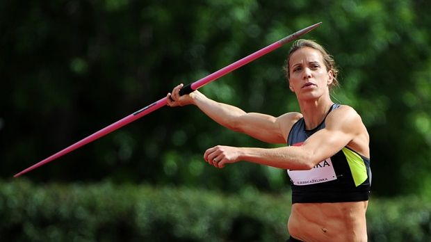 Jessica Zelinka, London, Ont., throws the javelin on her way to winning the heptathlon event at the Canadian Track and Field Championships in Calgary, Alta., Thurs, June 28, 2012. Canada's Superwoman and Supermom. Ranked #4 in the world NOW!