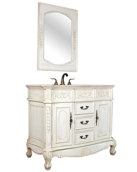 42 Antique Single Sink Bathroom Vanity Traditional Cabinet W Marble White 003