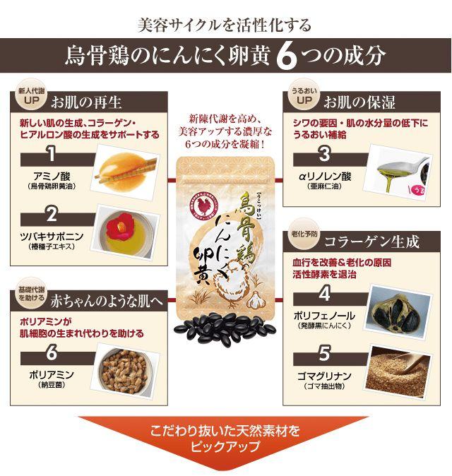 烏骨鶏のにんにく卵黄6つの成分