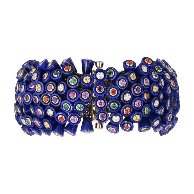Paris Nouvelle Vague bracelet - Yellow gold, lapis lazuli, spinels, pink sapphires, yellow sapphires, emeralds, tsavorite garnets, fire opals, diamonds - Fine Bracelets for women - Cartier