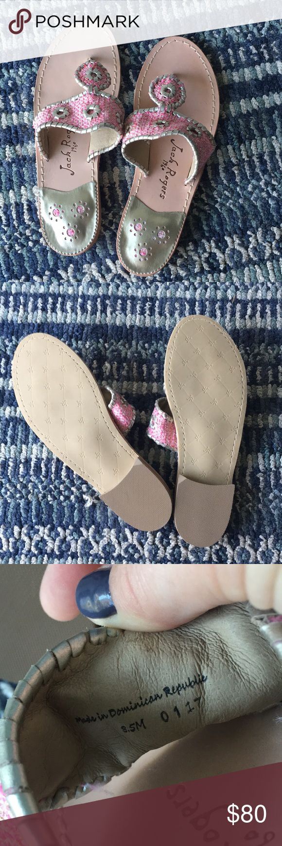 "Jack Rogers ""Palm Beach"" Sandal Super cute pink tweed and gold leather Jack Rogers classic palm beach sandal. These have never been worn outside of the house. (See photo of soles) They are size 8.5. Keep in mind that Jacks are made to be tighter originally because the leather stretches and fits to your foot over time. Jack Rogers Shoes Sandals"