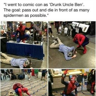 I love how the Spideys also played with it.   cosplay, uncle Ben, Spider-Man, comics, comic books, Marvel comics
