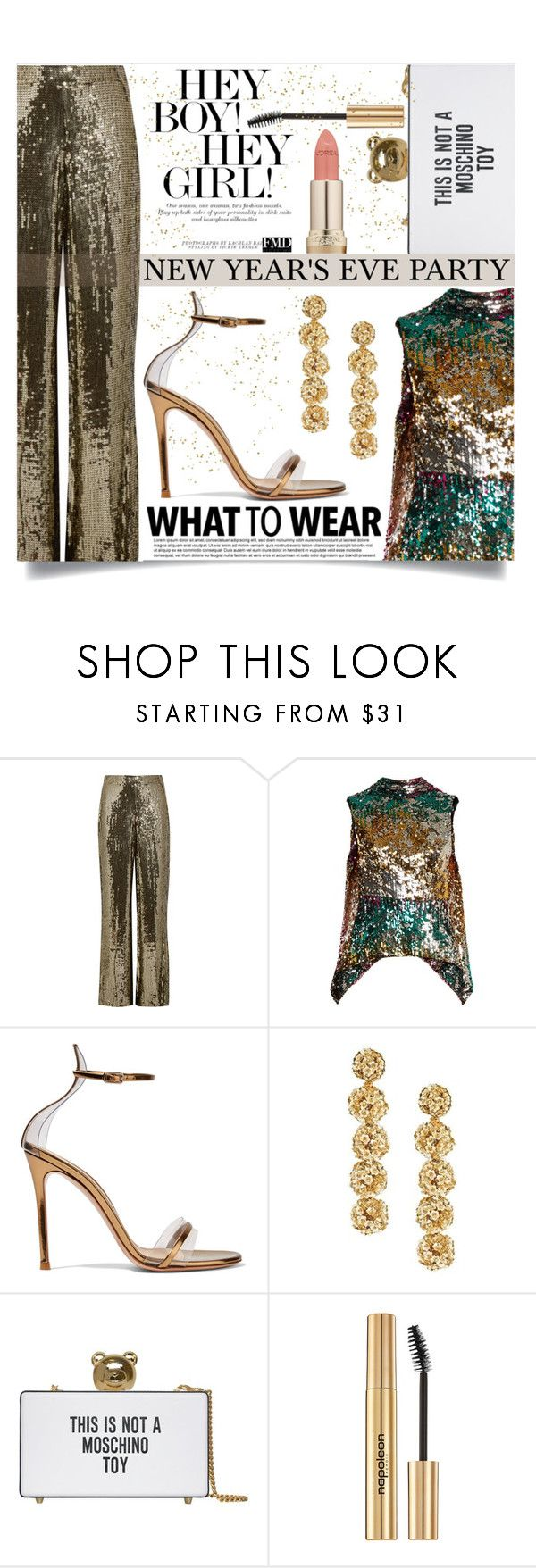 """New Year's Eve"" by mistressofdarkness ❤ liked on Polyvore featuring Alice + Olivia, Halpern, Gianvito Rossi, Sachin + Babi, Moschino, Napoleon Perdis and L'Oréal Paris"