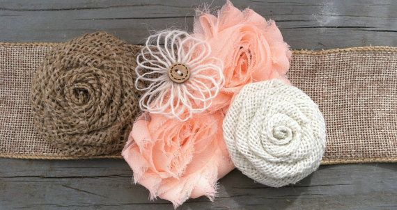 Rustic Peach Burlap Flower Girl Sash/Belt/Rustic Flower Girl Outfit/Country Wedding/Burlap Sash/Burlap Headband/Peach Burlap Headband