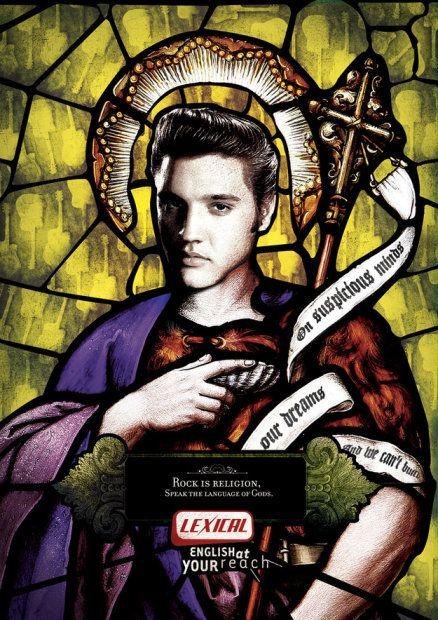 """""""Rock to religia. Mów językiem Bogów"""". Reklama brazylijskiej szkoły języków obcych Lexical, której slogan brzmi """"Angielski w zasięgu ręki"""". Na zdjęciu: wiecznie żywy Elvis"""