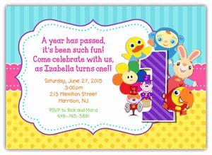 BabyFirstTV First Birthday Invitation Horizontal FramePeek-a-Boo VocabuLarry, Notekins FOR GIRLS
