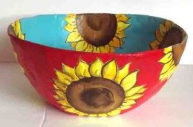 How to make Paper Mache Bowl - Sunflowers - DIY Craft Project with instructions from Craftbits.com