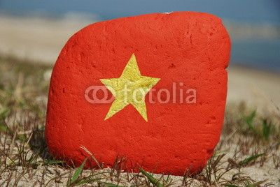 Flag of Vietnam on a stone over the sand