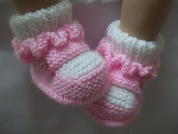 Knitting Pattern (instant download) for baby  frilly booties/bootees/shoes/boots, To knit in 3 sizes.
