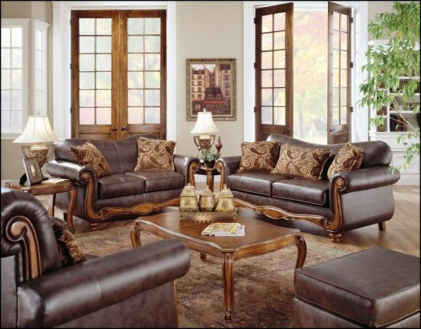 Exceptional Living Room, Wooden Sofa Sets In Classic Design Plus Traditional Carpet  Also Antique Table Lamp Design