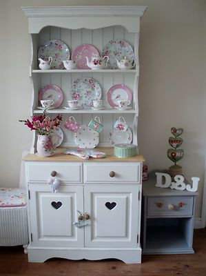 Handmade Solid Pine Painted Kitchen Dresser For sale on ebay uk  #Display Cupboard #Shabby Chic Rustic #hutch