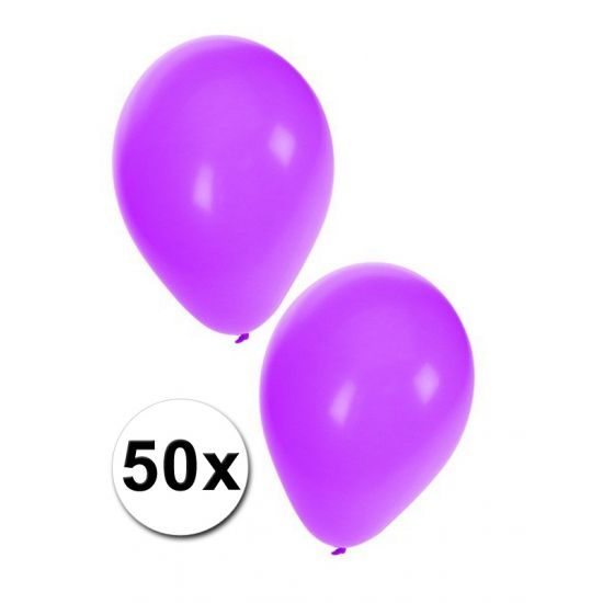 Paarse feest ballonnen 50x  50 stuks paarse ballonnen. De ballonnen kunnen gevuld worden met helium en lucht. Formaat: 27 cm.  EUR 5.00  Meer informatie