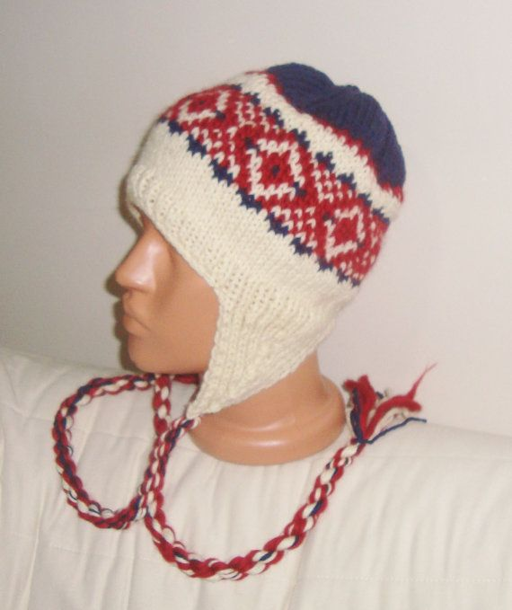 Men's wool earflap hat knitted man hat red navy by earflaphats, $39.99