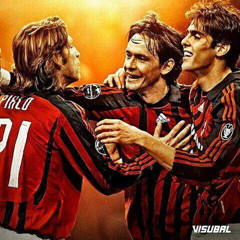 Once upon a time at #Milan! #Pirlo #Inzaghi #Kaka #Visubal
