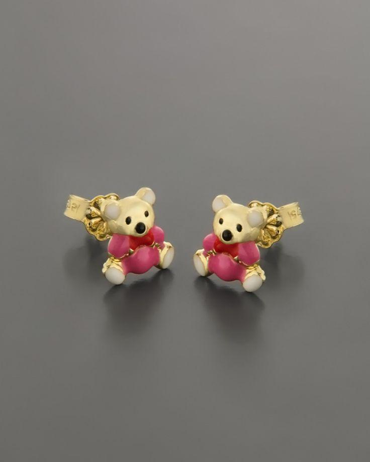 Σκουλαρίκια παιδικά χρυσά Κ9 με Σμάλτο
