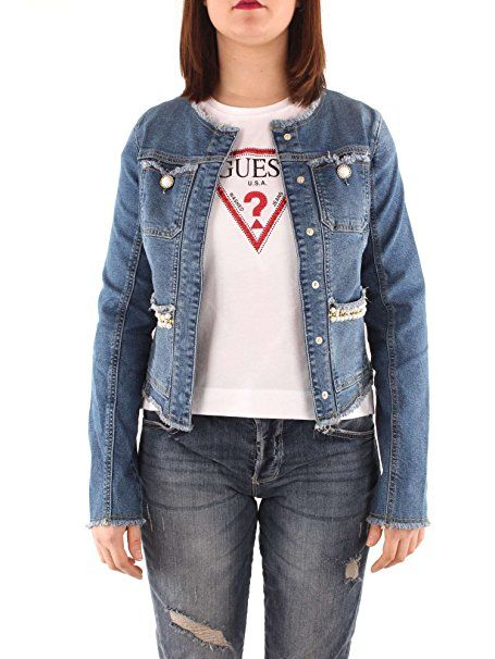 factory authentic f14af d73a1 Guess Damen Jeansjacke Marika, Blu (Pearlized Washed), Small ...