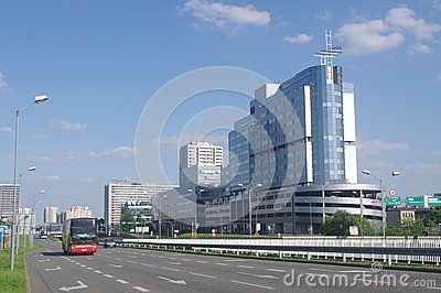 Street exiting downtown Katowice with new infrastructure of office buildings.