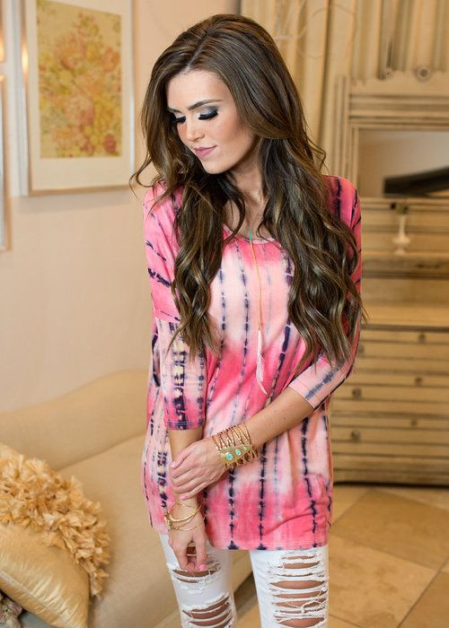 3/4 Sleeve, Top, Tunic, Pink, Tie Dye, Cute, Online boutique. Best outfits. Modern Vintage Boutique
