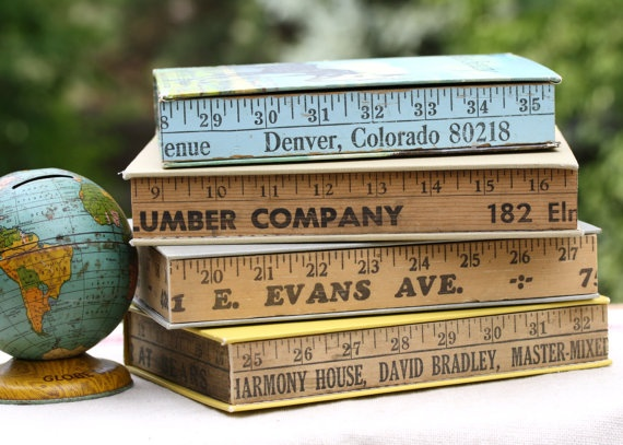 Treasure Box - Made from vintage Yard Stick and Books