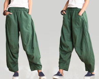 pantalon en lin femme/lin pantalon Pantalons femme/pour femme à pattes large pantalon vert noir/pantalon Jeans/Pantalons/lin /